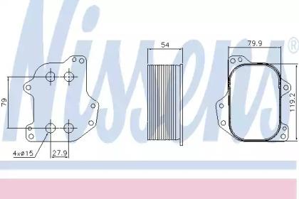 масляный радиатор, двигательное масло 90745 NISSENS