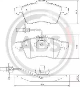 Комплект тормозных колодок, дисковый тормоз 37143 A.B.S.