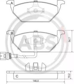Комплект тормозных колодок, дисковый тормоз 37155 A.B.S.
