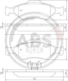 Комплект тормозных колодок, дисковый тормоз 37196 A.B.S.