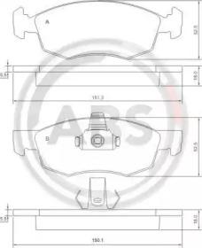 Комплект тормозных колодок, дисковый тормоз 37286 A.B.S.